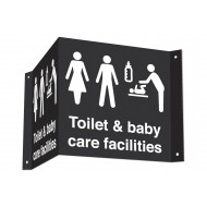 Toilet & Baby Care Facilities 3D Projecting Washroom Sign (White Text)