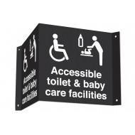 Accessible Toilet & Baby Care Facilities 3D Projecting Washroom Sign (White Text)