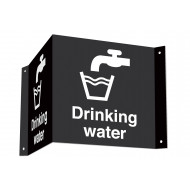 Drinking Water 3D Projecting Washroom Sign (White Text)