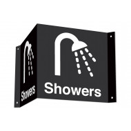 Showers 3D projecting washroom sign (white text)