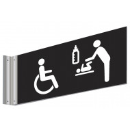 Disabled & Baby Changing Symbol Double Sided Washroom Sign