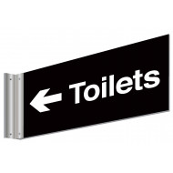 Toilets With Left Arrow Double Sided Washroom Sign