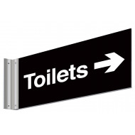 Toilets With Right Arrow Double Sided Washroom Sign