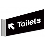 Toilets With Left Up Arrow Double Sided Washroom Sign