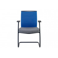 Riviera Visitor Chair With Blue Backrest (Black Frame)