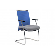 Riviera Visitor Chair With Blue Backrest (Chrome Frame)