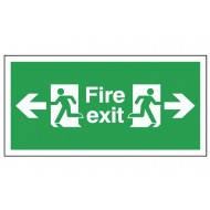 Fire exit sign with arrows pointing left and right