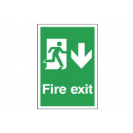 A4 Fire Exit Sign With Running Man And Arrow Pointing Down