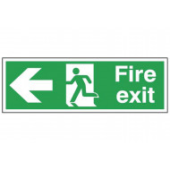 Exit Sign With Running Man And Arrow Pointing Left