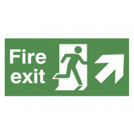Fire Exit Sign With Running Man And Arrow Pointing Up Right