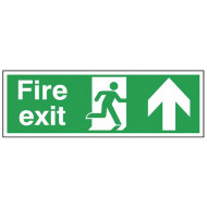 Exit Sign With Running Man With Arrow Pointing Up