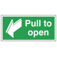 Pull to open emergency escape sign