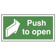 Push to open emergency escape sign
