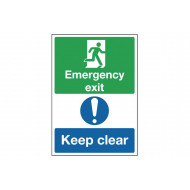 Emergency Exit Keep Clear Safety Sign