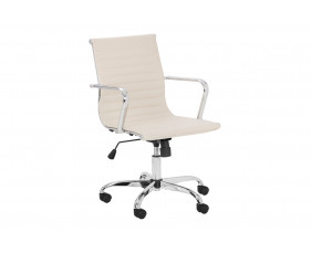 Geston Faux Leather Executive Ivory Chair