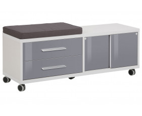 Torrone Mobile Storage Unit With Cushioned Seat