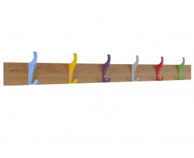 QMP School Wall Mounted Coat Rail With 6 Hooks