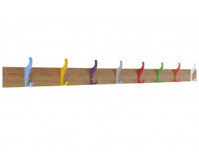 QMP School Wall Mounted Coat Rail With 8 Hooks