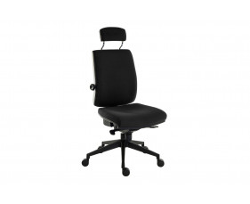 Baron Deluxe 24HR Fabric Ergonomic Chair With Headrest (Black Frame)