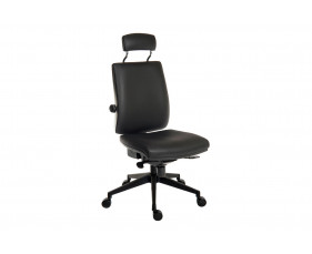 Baron Deluxe 24HR PU Ergonomic Chair With Headrest (Black Frame)