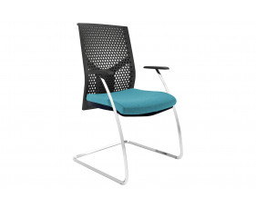 Ezra Visitor Chair With Black Poly Backrest (Chrome Frame)