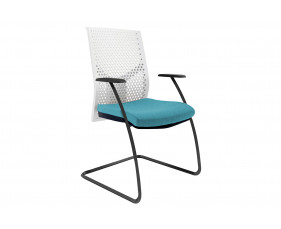 Ezra Visitor Chair With White Poly Backrest (Black Frame)