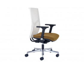 Ezra High Back Operator Chair With White Poly Backrest