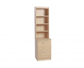 Small Office 2 Drawer Filing Cabinet with Hutch Bookcase