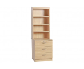 Small Office 3 Drawer CD/DVD Storage Chest With Hutch Bookcase