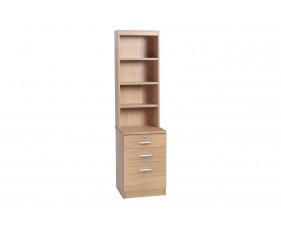 Small Office 3 Drawer Filing Cabinet With Hutch Bookcase