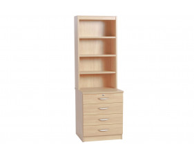Small Office 4 Drawer Chest With Hutch Bookcase