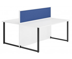 Delgado Hooped Leg Back 2 Back Desk With Blue Desktop Screen