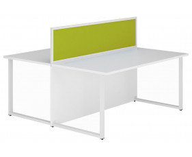 Solero Hooped Leg Rectangular Back 2 Back Desk With Green Desktop Screen