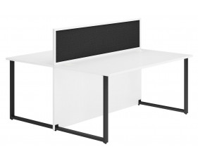 Delgado Hooped Leg Back 2 Back Desk With Black Desktop Screen