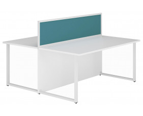 Solero Hooped Leg Rectangular Back 2 Back Desk With Light Blue Desktop Screen