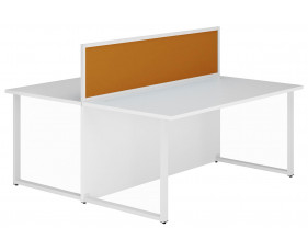Solero Hooped Leg Rectangular Back 2 Back Desk With Orange Desktop Screen