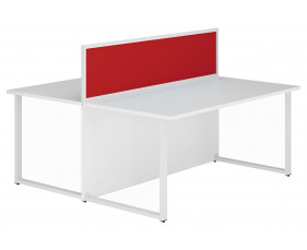 Solero Hooped Leg Rectangular Back 2 Back Desk With Red Desktop Screen