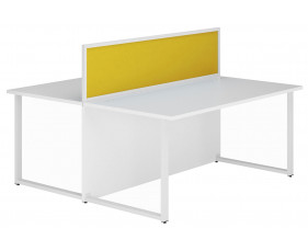 Solero Hooped Leg Rectangular Back 2 Back Desk With Yellow Desktop Screen