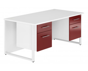 Illusion Hooped Leg Double Pedestal Desk (Burgundy Gloss)