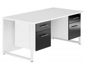 Illusion Hooped Leg Double Pedestal Desk (Black Gloss)