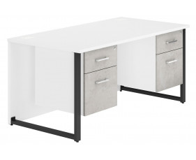 Delgado Hooped Leg Double Pedestal Desk (Concrete)