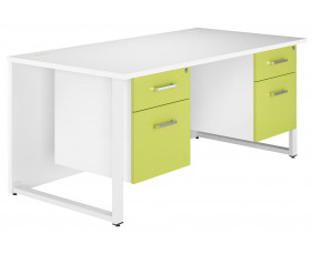 Solero Hooped Leg Double Pedestal Desk (Green)