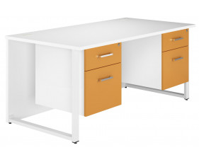 Solero Hooped Leg Double Pedestal Desk (Orange)