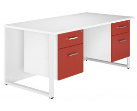 Solero Hooped Leg Double Pedestal Desk (Red)