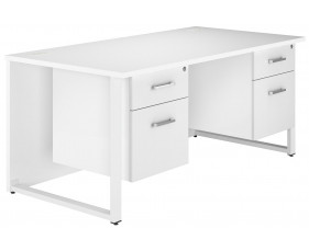 Illusion Hooped Leg Double Pedestal Desk (White Gloss)