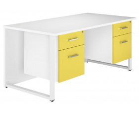 Solero Hooped Leg Double Pedestal Desk (Yellow)