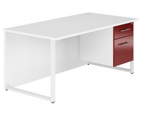 Illusion Hooped Leg Single Pedestal Desk (Burgundy Gloss)