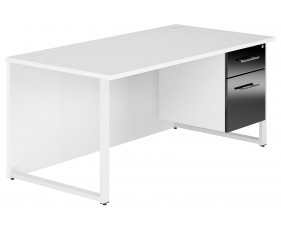 Illusion Hooped Leg Single Pedestal Desk (Black Gloss)