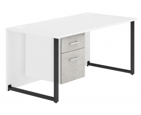 Delgado Hooped Leg Single Pedestal Desk (Concrete)