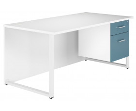 Solero Hooped Leg Single Pedestal Desk (Light Blue)